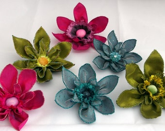 Big machine embroidered flowers. Hair flowers. Bouttonieres. Buttonholes. Bouquets. Textile flowers