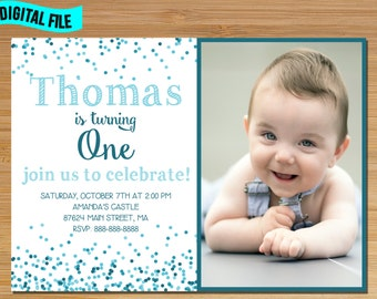 Conffeti First Birthday Invitation, Polka Dot Birthday Invitation, Blue First Birthday Boy Invitation, Photo first birthday Invitation