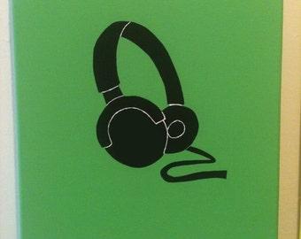 """Headphones Earphones """"Listen"""" Bright Green"""