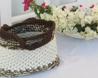 Beige-Brown Knitted Bag