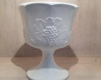 Vintage White Milk Glass Pedestal Bowl, Planter, Vase, Candy Bowl w/ Grapevine Harvest Pattern
