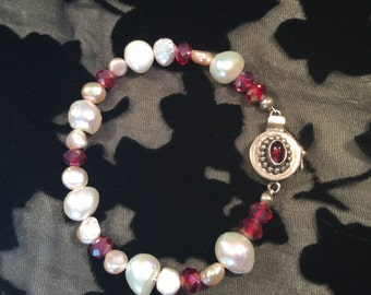Freshwater Pearl and Czech Glass Bracelet With Sterling Silver and Garnet Safety Clasp