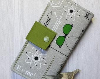 Nerdy Science print womens wallet, handmade bifold wallet, slim clutch wallet, credit card wallet, checkbook wallet, womans fabric wallet