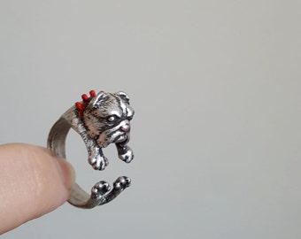 English Bulldog ring, Custom Colored Animal Wrap ring, Dog Ring, Puppy Ring, Birthday Gift , Bulldog ring