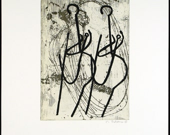 Anglerinnen I, 1988. Etching and photo-engraving by Markus OEHLEN