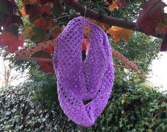 Crochet Infinity / Cowl Scarf - lilac scarf - autumn scarf - ideal gift