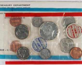 1969 mint set OGH silver coins