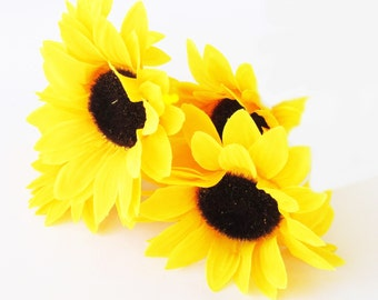 "Flowers Lot of 30 Sunflowers Artificial Silk Flower Yellow Sunflower 5"" Floral Hair Accessories Flower Supplies Faux Fake Rustic Wedding DIY"