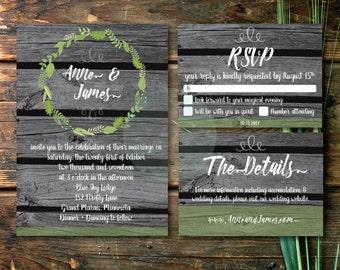 rustic barn wood wedding invitation set rsvp detail card diy printable pdf jpeg - Barn Wedding Invitations