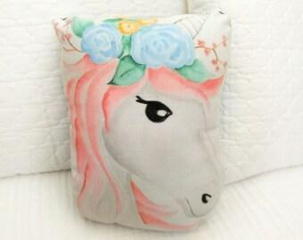 Hand Painted Unicorn Pillow