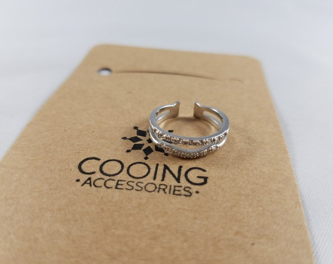 18Kgp Silver Double row ring with Czech Stone. Nickel Free. Adjustable Size