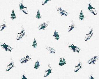 Dear Stella Tinsel Town Skiers Blue - Fabric by the Yard