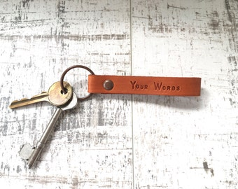 Personalised leather keyring, custom stamped leather keychain, made to order Engraved tag, key fob, 3rd wedding anniversary, fathers day
