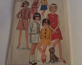 Vintage Simplicity pattern 6375 girl's jacket, skirt and overblouse
