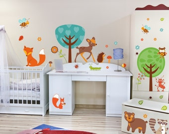 042 wall stickers forest friends owl, raccoon & co. * nikima * in 6 verse. Sizes