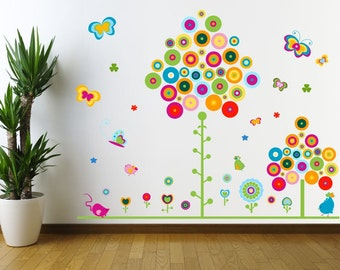 083 wall decals colorful trees flowers butterflies * nikima * in 5 different sizes