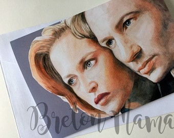 X Files - Agent Mulder and Scully A5 card- I Want to Believe