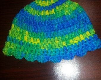 Multi Color Scalloped edge hat