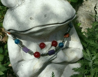 Dyed Natural Stone Necklace and Earrings Set Colorful Unique Boho Silver Beads