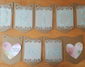 Bridal Shower Banner / Wedding Decor / Rustic / Shabby Chic Country Cottage / Bride to Be / Seafoam / Floral / Custom