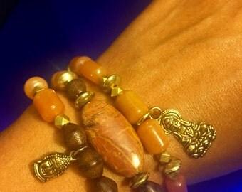Carnelian Stack Bracelets w/Buddha charms