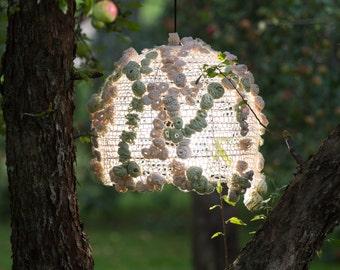 lamp/ crochet/  cotton/ green/ yellow/ living room/ children room/ bedroom/ home decor/ decorative/  handmade/ ecologic/ chandelier
