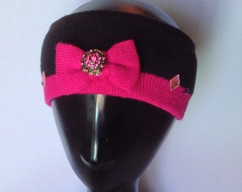 Pink & black French inspired ear warmer/ski band
