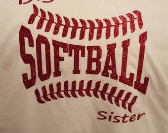 Softball or baseball sister or brother shirt