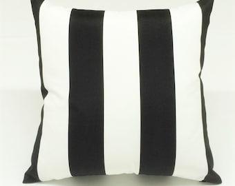 INDOOR/OUTDOOR black & white stripe designer decorative pillow toss pillow throw pillow cover