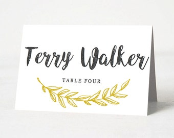DIY Wedding Place Card Template | INSTANT Download | Antique Script Place Card Template | Editable & Printable Template