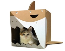 Shark Cardboard Cat House,Unique Cat Furniture,Cat Toy,Cat Bed,Cat Cave,Cat Condo,Cat Gift,Items For Cats