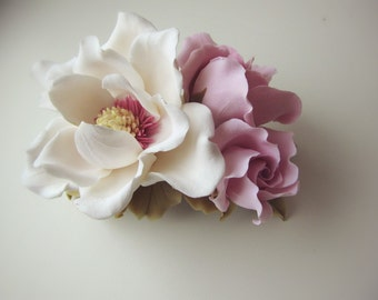magnolia barrette, magnolia headband, magnolia hair, beach wedding, magnolia jewellery, pink bridal jewellery, bridal comb, magnolia hair