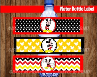 Mickey Mouse Water Bottle Label, Printable Mickey Mouse Water labels, Mickey party Water instant download