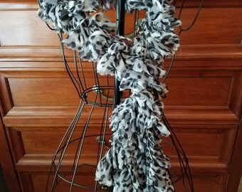Sassy Snow Leopard Scarf. Crochet Scarf. Hand Made Scarf. Gift for Her. Ribbon Scarf. Women's Scarf. Ready to Ship.