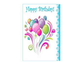 "Birthday Balloons ~ Birthday Card ~ 5"" x 7""  Portrait, Folded ~ Sets of 5, 10, 15, 20, 25"