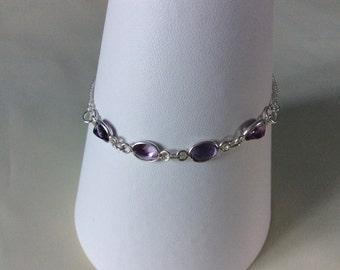 925 sterling silver slider bracelet with Amethyst.