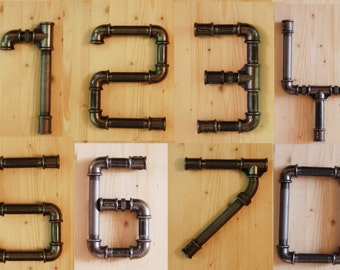 Lettering (letters and numbers) in a tube plumbing custom & bespoke