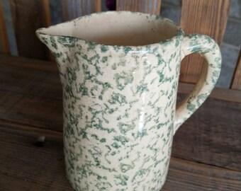 Sponge Ware Pitcher - Vintage Light Green on Cream