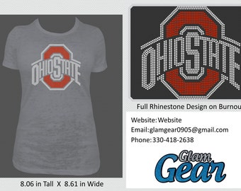 Ohio State Rhinestone Burnout T-Shirt