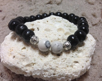 White howlite and black wood beads with silver accents 4684
