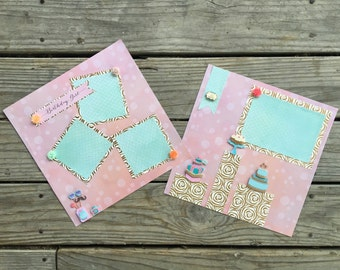 Scrapbook Pages, Premade, Scrapbooking Layout, Birthday Girl, Scrapbook Page, Fancy, Party, Pink, Teal, Memory Page, 12 x 12