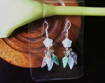 Natural A grade jade flower earing
