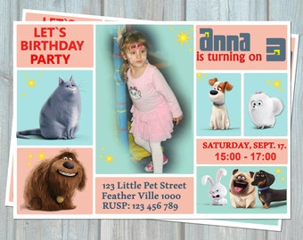 The Secret Life Of Pets Invitation, Birthday Party Invitation Card, Personalized Digital Printable File