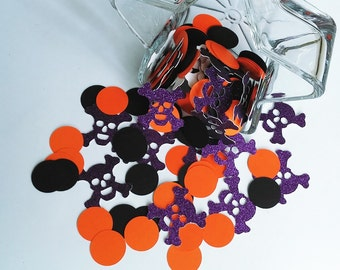 Halloween Confetti  (150 pieces) - Skull and Bones Table Decorations,Die Cut, Purple Glitter, orange, and black