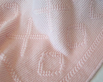 Hugs and Kisses Pink Baby Blanket