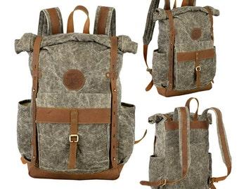 Canvas Backpack, Safari Backpack, Leather backpack forest backpack-outdoor backpack -Travel backpack - adventure backpack -camera backpack