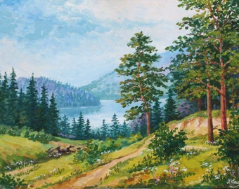Original Landscape painting on gallery wrap canvas Ready to hang