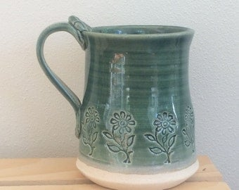 Clay Mug With Flower Pattern, Handmade, Stoneware With Blue and Green Glaze
