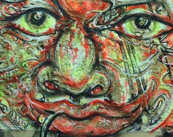 Berlin Street-Art Face Tagging Graffiti Sprayer  Green Red Black Wall Street polychromatophil Fine Art Photography Photo Art