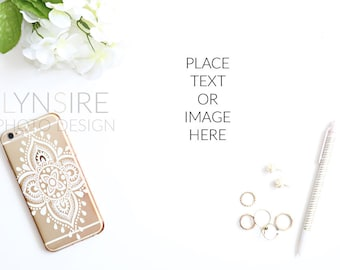 Stock Photography: Styled Desktop | Gold, White, iPhone, Flowers, Jewelry